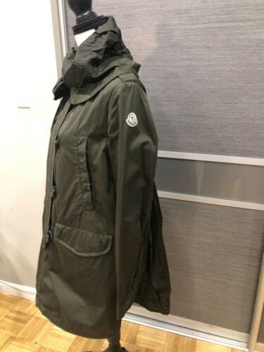 AUTHENTIC MONCLER HOODED TRENCH COAT OLIVE GREEN C