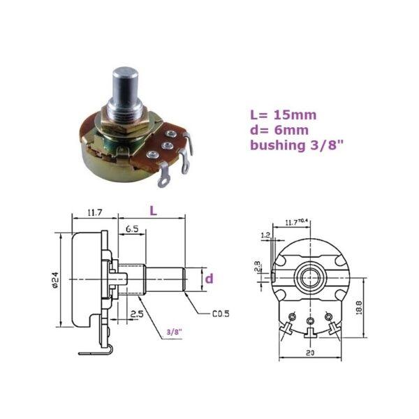 Alpha 24mm 1mb, Bussola 3/8'', Potenziometro Lin Mono