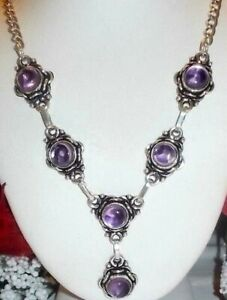 BEAUTIFUL-NATURAL-PURPLE-AFRICAN-AMETHYST-925-STERLING-SILVER-NECKLACE-STAMPED