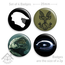 "HALO 1 2 3 ODST Helmet XBOX 360-1"" Badge x4 Badges NEW - Set 2"