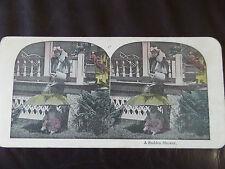 "c. 1895 COLOUR 3d STEREOGRAPH/ STEREOGRAM PHOTO CARD      ""A SUDDEN SHOWER"""
