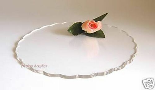 """12/"""" ROUND PETAL ACRYLIC WEDDING CAKE BOARD STAND  CLEAR"""