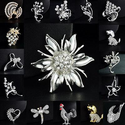 New Wedding Brooch Jewelry Gift Crystal Rhinestone Silver flower Bridal Bonquet