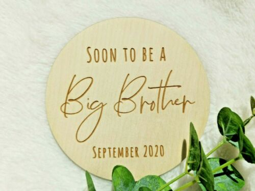 PREGNANCY ANNOUNCEMENT NP9 REVEAL Wooden plaque card Soon to be a big brother