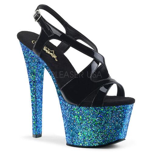 Pleaser Sky-330LG Black Blue Holographic Glitter Criss-Cross Sling Back Sandal