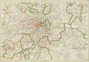 Map Of London And Surrounding Suburbs.Details About London Gas Supply Areas Underground Tube Electrified Railways Bacon 1934 Map