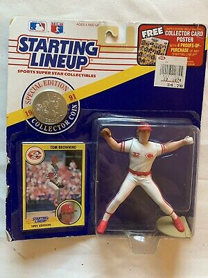 1991 Starting Lineup Figure SLU MLB Tom Browning Cincinnati Reds w//Coin RARE