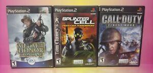 3 Game War Lot PS2 Playstation 2 Call of Duty Splinter Cell Pandora Medal Honor