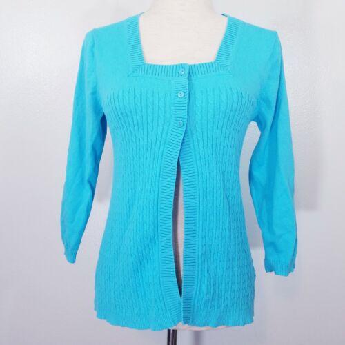 Croft & Barrow Womens Medium Blue Sweater Jacket S