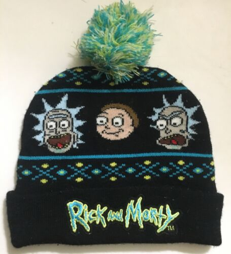 Rick and Morty Cuffed Black Beanie Stocking Hat Ca