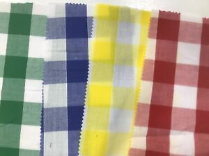 GINGHAM-FABRIC-1-INCH-112CM-WIDE-Dress-Clothing-Tablecloth-Curtains-Craft-Check