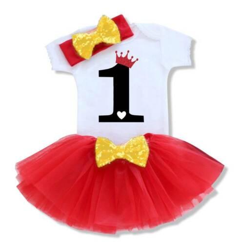 Toddler Girls First 1st Birthday Tutu Skirt Dress Headband Cake Dresses Outfits