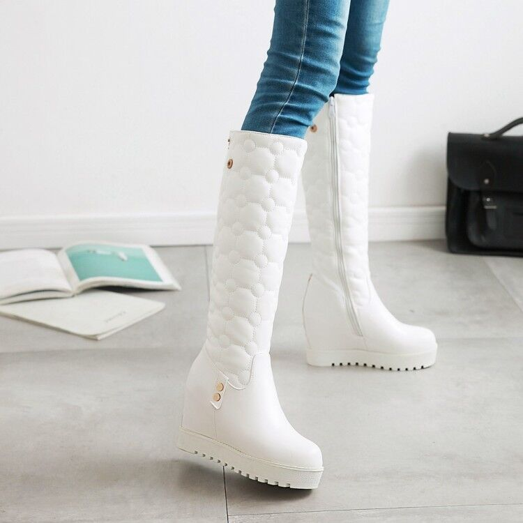 Winter Womens Fashion Wedge High Heel Round Toe Knee High Boots platform shoes