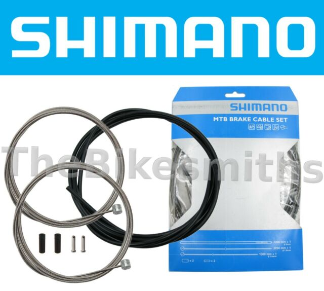 New Shimano Front and Rear MTB Stainless Brake Cable and Housing Set Black