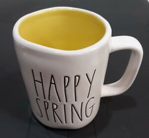 RAE DUNN ARTISAN COLLECTION MAGENTA LARGE LETTER HAPPY SPRING IVORY MUG CUP