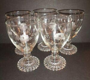 "SET OF 5 PRINCESS HOUSE CRYSTAL ""HERITAGE""- STEM WATER OR WINE GLASSES"