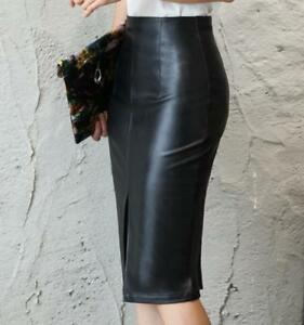 26117fe97498f WOMENS Black Knee S-4XL Leather Skirt Length Pencil Skirt Vintage ...