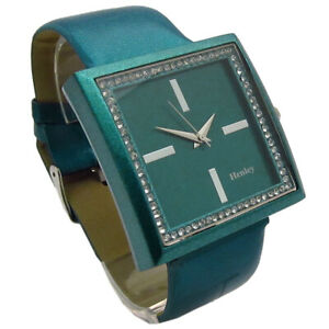 Henley Ladies Square Diamanté Watch Turquoise Gift boxed