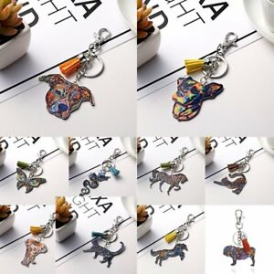 Women-Animal-Dog-Cat-Horse-Printing-Keychain-Keyring-Tassel-Bag-Accessories-Gift