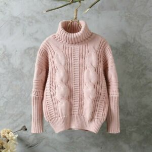 Women-Turtle-Neck-Jumper-Sweater-Chunky-Cable-Knit-Loose-Pullover-Top-Casual-New