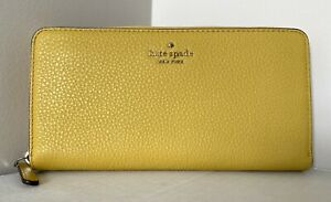 New Kate Spade New York Jackson Large Continental wallet Leather Gold Yarrow