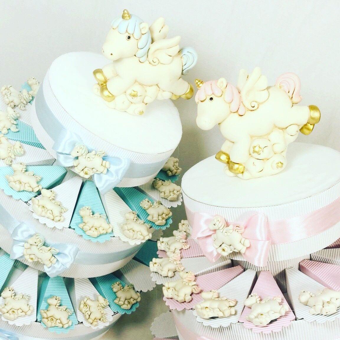Torta bomboniera battesimo sacchetti nascita bimba bimbo unicorni