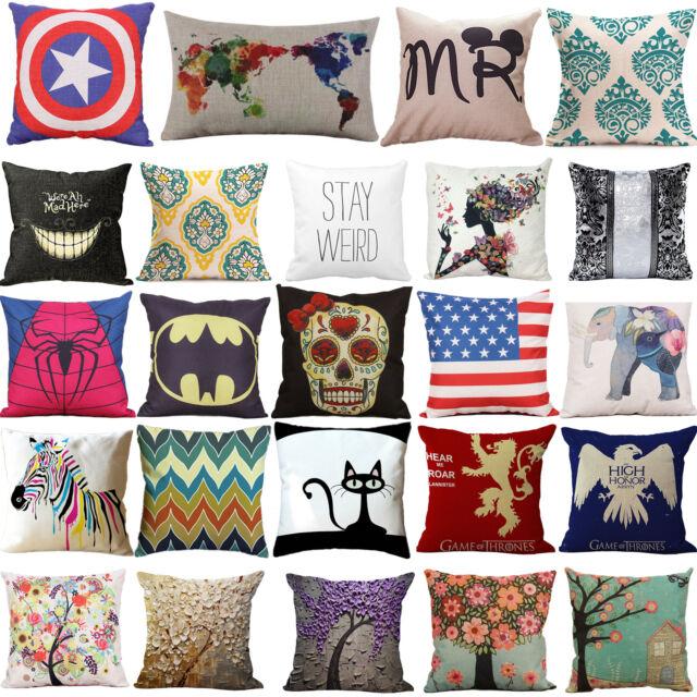Cotton Linen Throw Cushions Cover Pillowcases Home Bed Sofa Waist Pillow Case AU