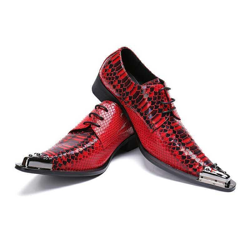 New Uomo Pointy Toe Metal decorated Pelle Slip On Business low Block Heels Shoe