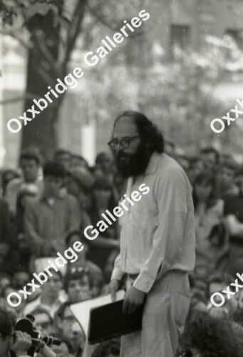 ALLEN GINSBERG Beatnik Poetry Reading Photo Neg WASHINGTON SQUARE PARK NYU 1966