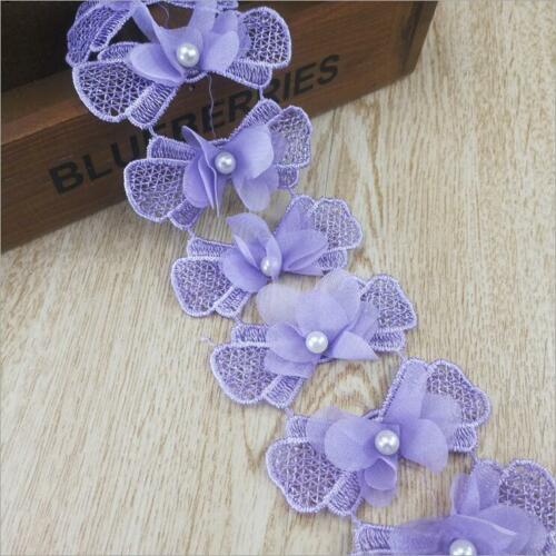 2 Yards stereoscopic bowknot beaded Lace Decorative clothes craft Accessories