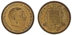 2-50-PESETAS-ESTADO-ESPANOL-Cu-1953-19-70-FRANCO-PROOF-LIKE