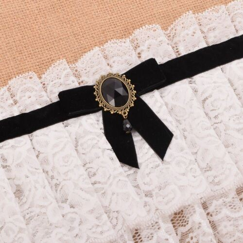 1pc Lolita  Neck Collar  Neck Ruff Lace up Bowknot Ribbon Choker Cosplay Props