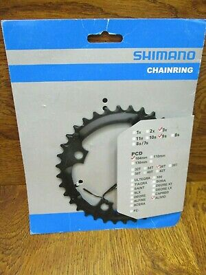 NEW SHIMANO ALIVIO FC-M430 4 BOLT 104 BCD 36T 3x MEGA 9 SPEED CHAINRING BLACK