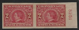 US-Stamps-Scott-371-Imperf-Seward-Plate-Pair-Mint-Hinged-A-500