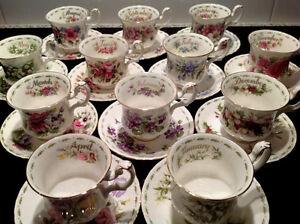 """Royal Albert """"Flor del mes de café de Copa Y PLATILLO-inglés Bone China"""