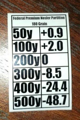 Federal Premium Nosler Partition 180 Grain Bullet Drop Graph Sticker bullet drop