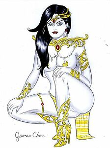 DEJAH THORIS ORIGINAL COMIC ART COLOR SKETCH BY COMIC BOOK ARTIST JAMES CHEN