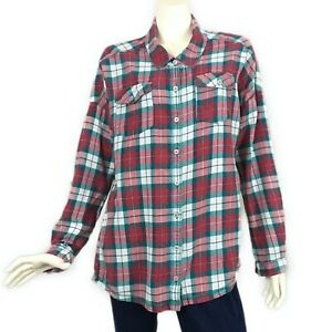 Billabong-Flannel-Boyfriend-Shirt-Plaid-Red-Teal-Green-White-Cotton-size-L-Women