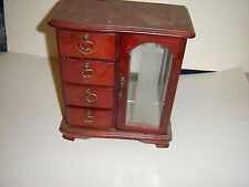 New Jewelry Box with 4 Drawers 1 for rings and 1 Glass Door w/ 8 necklace hooks