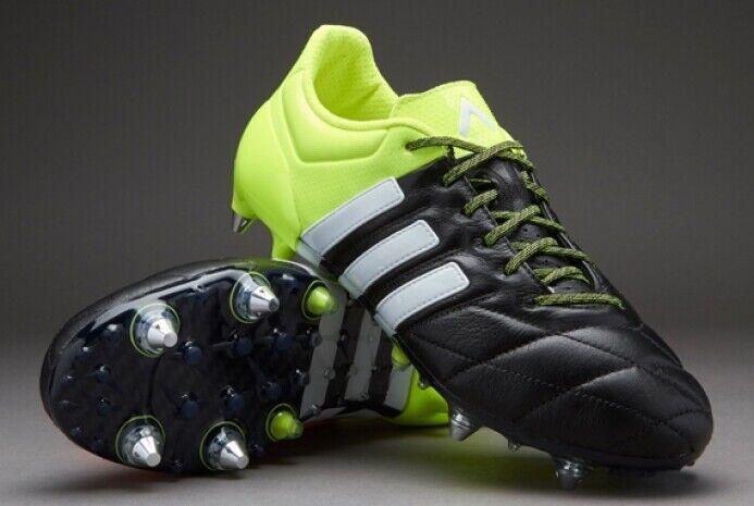 Adidas ACE 15.1 SG Cuero B32813 botas De Fútbol Soccer Cleats Negro verde