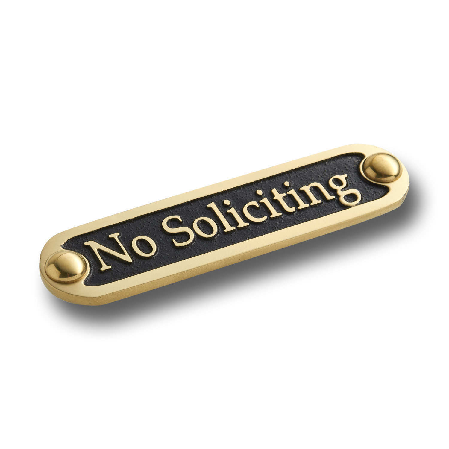 No Soliciting Brass Door Sign.  Traditional Style Home Décor Wall Plaque