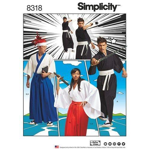 Simplicity 8318 Anime Kimono Costumes UNISEX Sz XS-XL UNCUT Cosplay Pattern