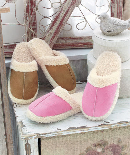 NWT Women's Cozy Faux Suede Scuff Slippers Slip On Solid Pink Tan S (7) M (8)