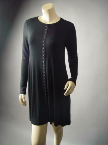 Basic Black Ribbed Knit Goth 90s Grunge Punk Flared T Shirt 296 mvp Dress S M L