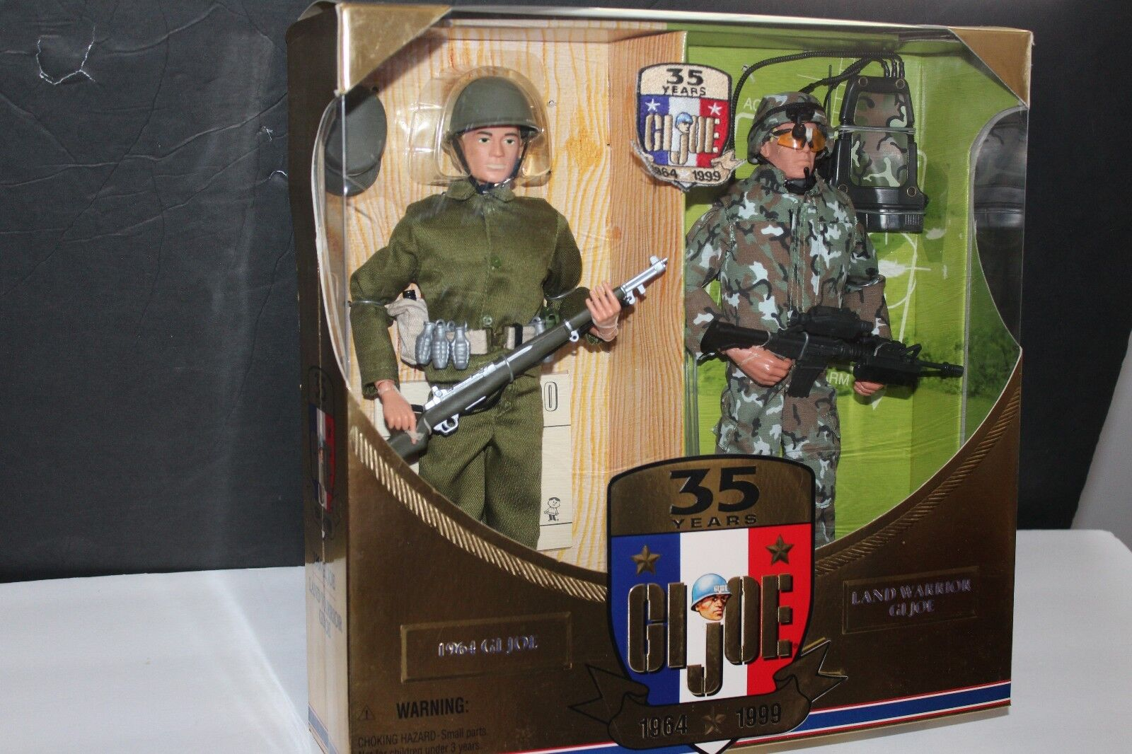 G.I. JOE 35th ANNIV ACTION SOLDIER THEN & NOW SET w  RARE 35th PATCH IN BOX