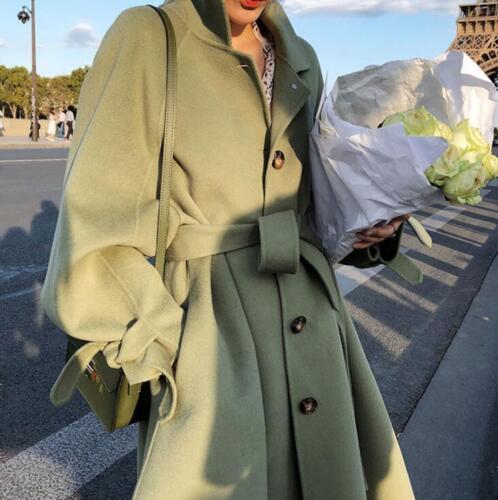 Loose Bæltecoat Parka Blend Outwear Langærmet Women's Dress Wool Jacket 1UqwdTT