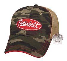 New Peterbilt Motors Prewashed Camouflage Camo Mesh Trucker Cap Hat