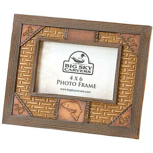 """Big Sky Carvers Tooled Trout Photo Frame - Holds 4""""x 6"""" Photo - New in Box"""