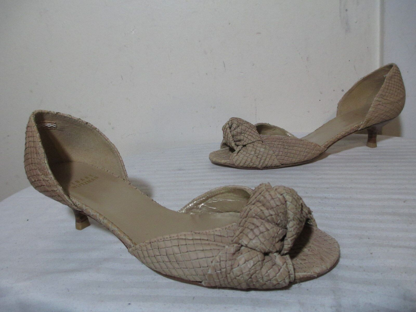 STUART WEITZMAN TAN SNAKESKIN EMBOSSED EMBOSSED EMBOSSED LEATHER KNOT TOP OPEN TOE DORSAY PUMP 8½M 0b0209