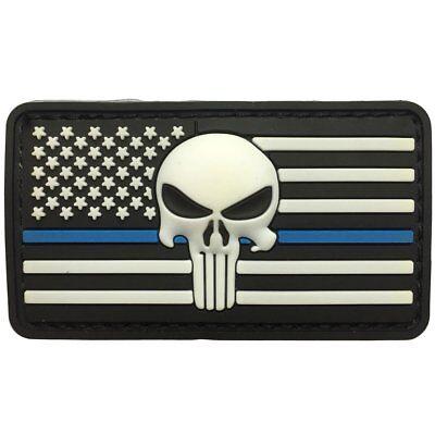Thin Blue Line PVC Hook//Loop Patch Sniper Punisher 3D White Skull FLAG SHIELD